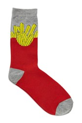 Forever 21 Men French Fries Crew Socks Red Heather Grey