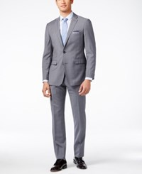 Vince Camuto Men's Slim Fit Gray Windowpane With Blue Deco Suit Grey