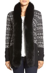 Women's Sofia Cashmere Genuine Fox Fur Trim Fair Isle Cashmere Cardigan