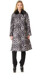 Marc Jacobs Overcoat With Fur Collar Ivory Multi