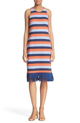 Tory Burch Women's 'Ariana' Fringe Hem Stripe Tank Dress