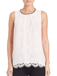 Design History Embellished Overlay Lace Tank Top White
