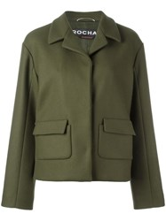 Rochas Single Breasted Cropped Jacket Green