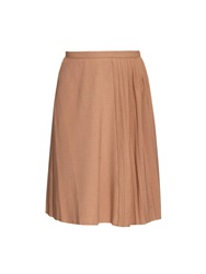Carven Pleated Knee Length Twill Skirt