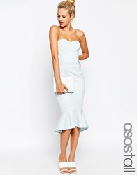 Asos Tall Bandeau Midi Dress With Peplum Hem Light Blue