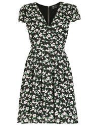 Pussycat Floral Print Crossover Neck Dress Blue