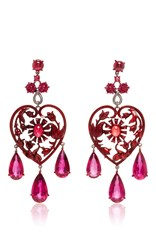 Lydia Courteille Scarlet Empress Collection Red Sapphire Earrings