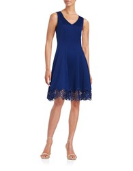 Chetta B Crochet Trimmed Fit And Flare Dress Navy
