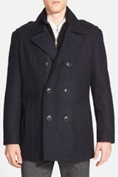 Andrew Marc New York 'Joshua' Double Breasted Wool Blend Peacoat With Inset Bib Blue