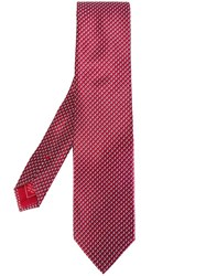 Brioni Square Print Tie Red
