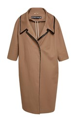 Rochas Heavy Cotton Coat With Embroidered Collar Tan