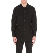 Off White C O Virgil Abloh Brushed Denim Shirt Black