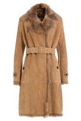 Burberry London Suede Coat With Fur Collar Camel