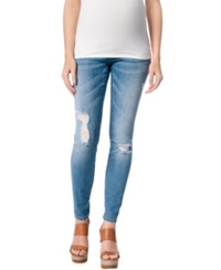 Motherhood Maternity Distressed Skinny Jeans True Blue Wash