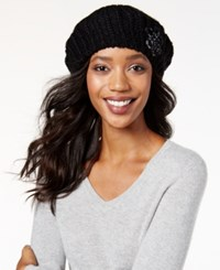 Inc International Concepts Crochet Flower Beret Only At Macy's Black