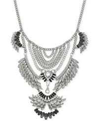 Bcbgeneration Silver Tone Tiered Feather Bib Necklace