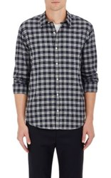 Barneys New York Men's Plaid Cotton Shirt Dark Grey Blue Light Grey Dark Grey Blue Light Grey