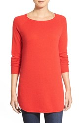 Petite Women's Halogen Shirttail Wool And Cashmere Boatneck Tunic Red Mars