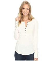 Lucky Brand Washed Bib Henley Thermal Top Marshmallow Women's Clothing Blue