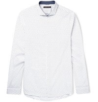 Michael Kors Slim Fit Cutaway Collar Printed Cotton Shirt White