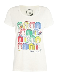 Dickins And Jones Beach Hut Placement Print Tee Ivory