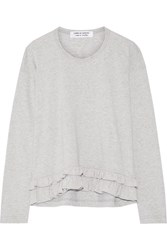 Comme Des Garcons Ruffle Trimmed Cotton Jersey Top Gray