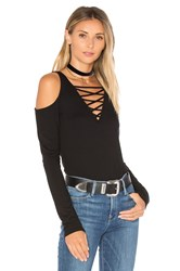 Project Social T Falling For You Lace Up Top Black