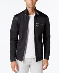 Inc International Concepts Men's Fire Knit Moto Jacket Only At Macy's Heather Onyx