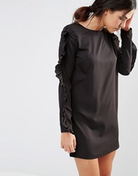 Daisy Street Shift Dress With Frill Sleeves Black