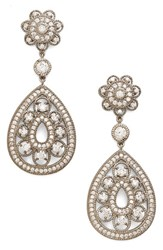 Women's Nina Filigree Teardrop Crystal Earrings Silver