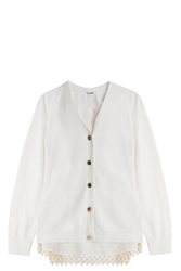 Adam By Adam Lippes Lace Back Cardigan Ivory