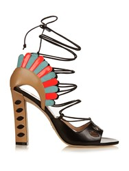 Paula Cademartori Lotus Lace Up Leather Sandals