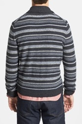 Wallin And Bros Fair Isle Lambswool Shawl Collar Cardigan Black