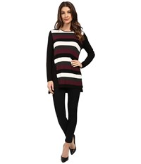 Vince Camuto Long Sleeve Chalk Stripe Tunic Raisin Women's Clothing Brown