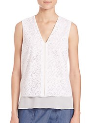 Vince Sleeveless Lace Top White