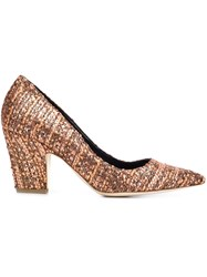 Rupert Sanderson Woven Pointed Toe Pumps Brown