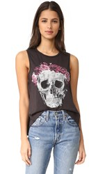 Chaser Flower Crown Skull Tank Black