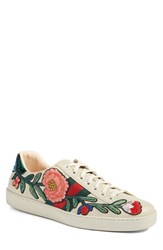 Gucci Men's 'New Ace Embroidered' Sneaker With Genuine Snakeskin Detail White Leather