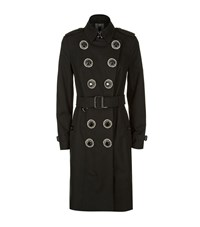 Burberry Sandringham Fur Collar Trench Coat Female Black