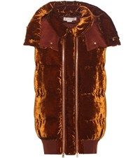 Stella Mccartney Melissa Padded Velvet Gilet Brown