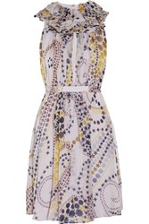 Matthew Williamson Printed Silk Chiffon Dress Lavender