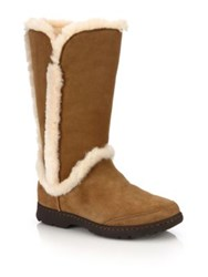 Ugg Katia Suede Shearling And Faux Fur Boots Brown