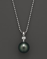 Tara Pearls Dancing Diamond Cultured Tahitian Pearl Pendant Necklace .10 Ct. T.W. No Color