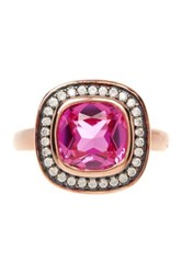 Savvy Cie 18K Rose Gold Vermeil Plated Simulated Pink And White Sapphire Cocktail Ring Multi