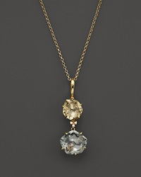 Vianna Brasil 18K Yellow Gold Pendant Necklace With Yellow Light Citrine Prasiolite And Diamond Accents 16.5 Multi Gold