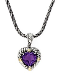 Effy Balissima 18K Yellow Gold And Sterling Silver Amethyst Heart Pendant Amethyst Silver