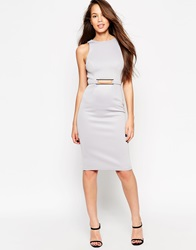 Asos Premium Square Gold Bar Scuba Pencil Bodycon Dress Grey