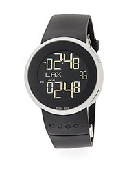Gucci Digital Stainless Steel And Rubber Strap Watch Black