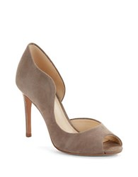 Nine West Quick Draw Suede Peep Toe Pumps Grey