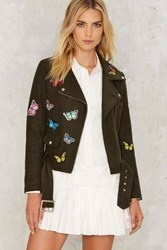 Butterfly Effect Wool Moto Jacket Green
